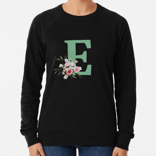 Letter E green with colorful flowers  Lightweight Sweatshirt