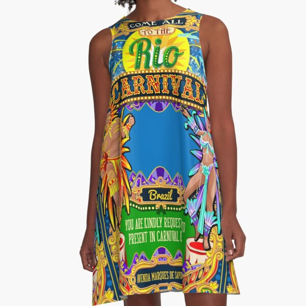 Rio Carnival Poster Frame Brazil Carnaval Mask Show Parade A-Line Dress
