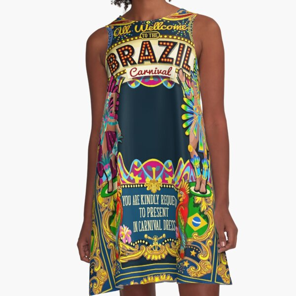 Rio Carnival Poster Theme Brazil Carnaval Mask Show Parade A-Line Dress