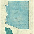 Arizona State Map Blue Vintage by HubertRoguski