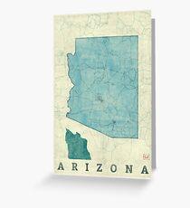 Arizona State Map Blue Vintage Greeting Card