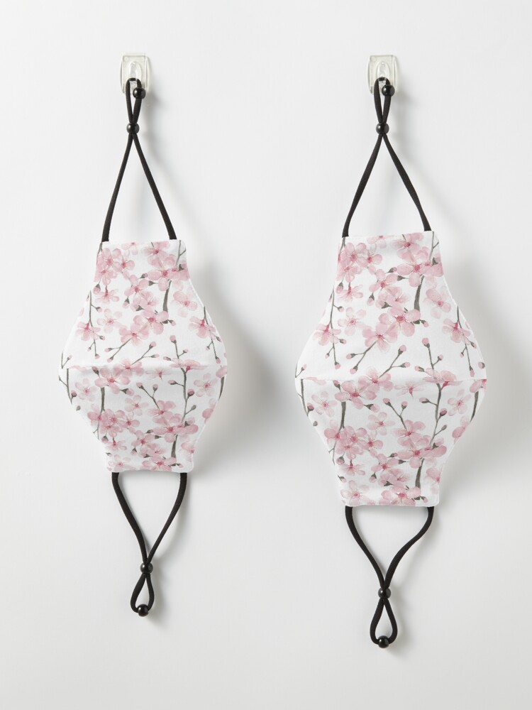 Alternate view of Cherry Blossom watercolor fashion and home decor by Magenta Rose Designs Mask