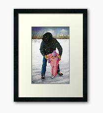Cowboy Dad Teaching Daughter to Skate: Oil Pastel, Winter Framed Print
