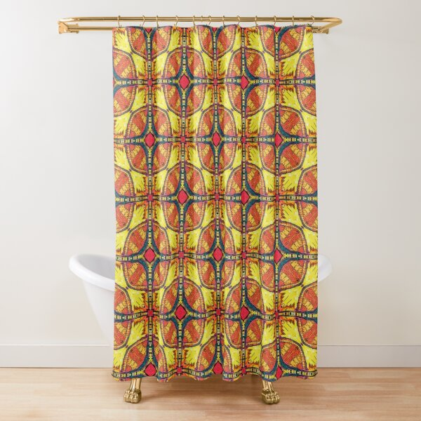 Gold mosaic fall pattern Shower Curtain
