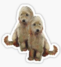 Golden Doodle Puppies, Dog Couple, Oil Pastel Art Sticker