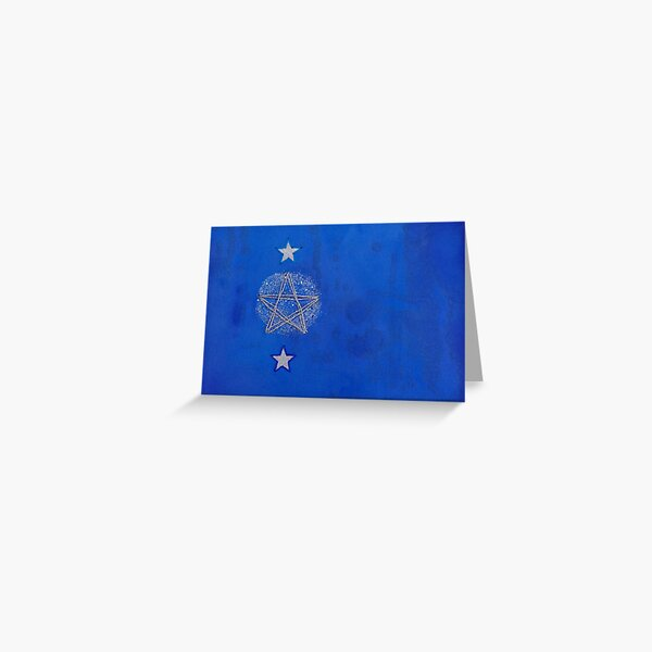 Blue Christmas Design With Stars Greeting Card