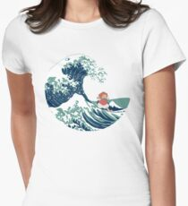 Ponyo and The Great Wave off Kanagawa - Moderne Women's Fitted T-Shirt