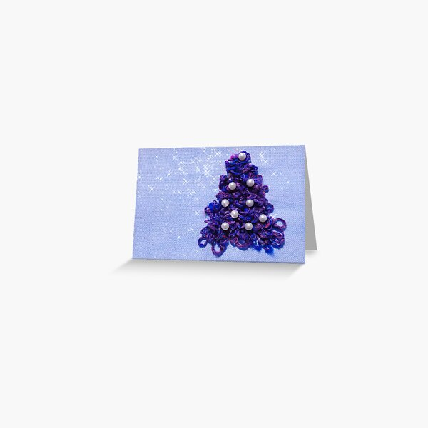 Holiday Design With a Blue Christmas Tree Greeting Card