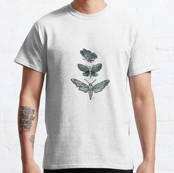 Magic Moth & Butterfly in the Midnight Teal Green Garden_watercolor painted Classic T-Shirt