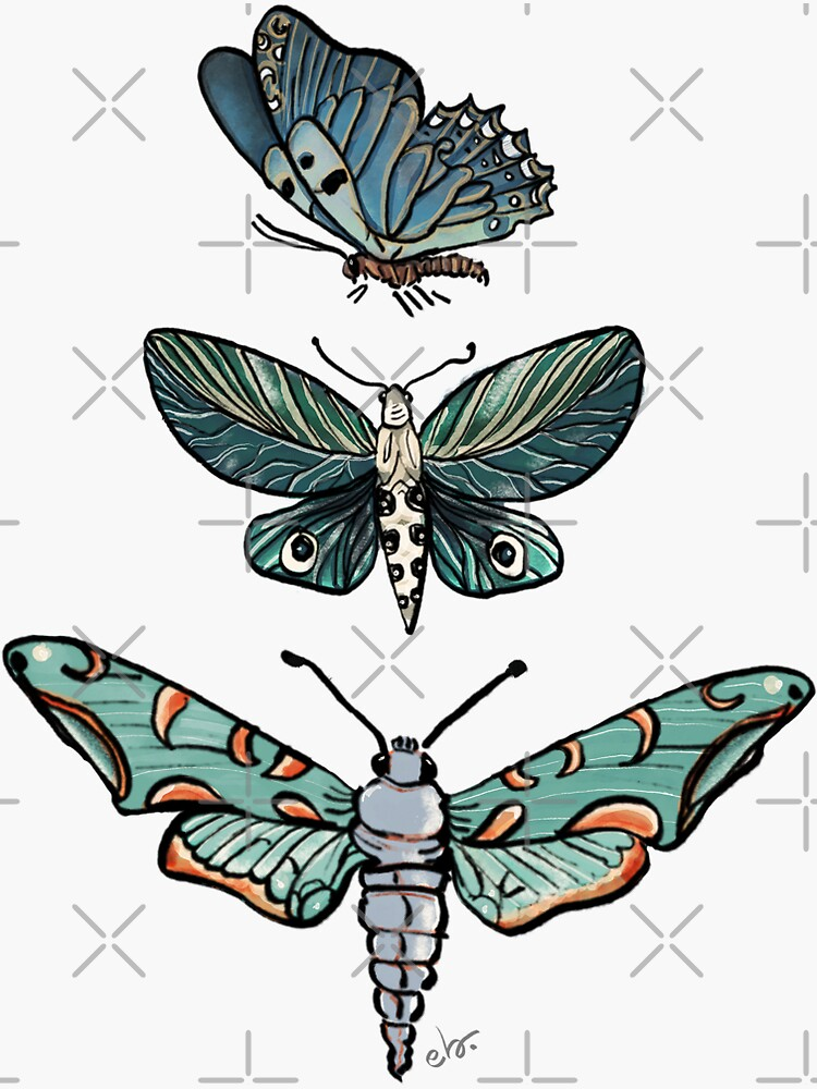 Magic Moth & Butterfly in the Midnight Teal Green Garden_watercolor painted by ebozzastudio