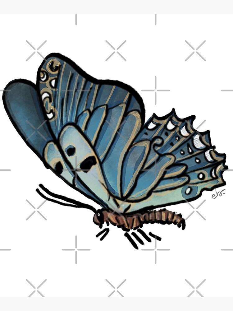 Magic Blue Butterfly in my Garden_watercolor painted by ebozzastudio