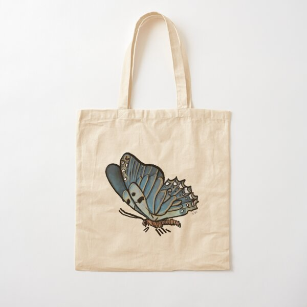 Magic Blue Butterfly in my Garden_watercolor painted Cotton Tote Bag