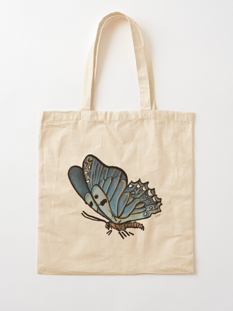 Alternate view of Magic Blue Butterfly in my Garden_watercolor painted Tote Bag