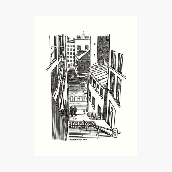 Montmartre, Paris - ink drawing Art Print