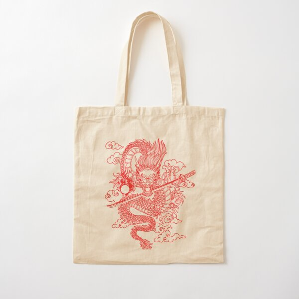 Red Chinese Dragon with Black Background Cotton Tote Bag