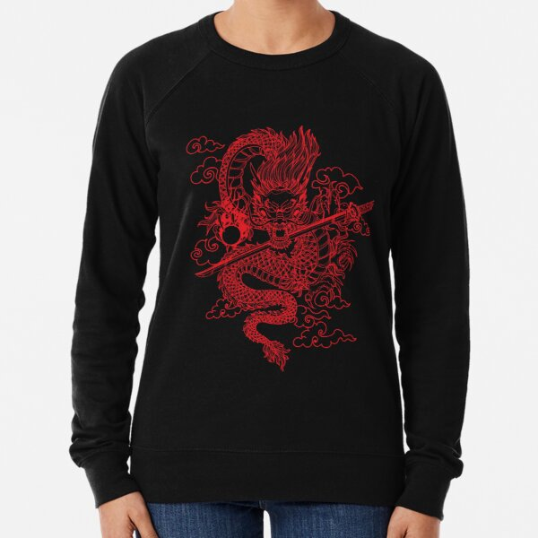 Red Chinese Dragon with Black Background Lightweight Sweatshirt