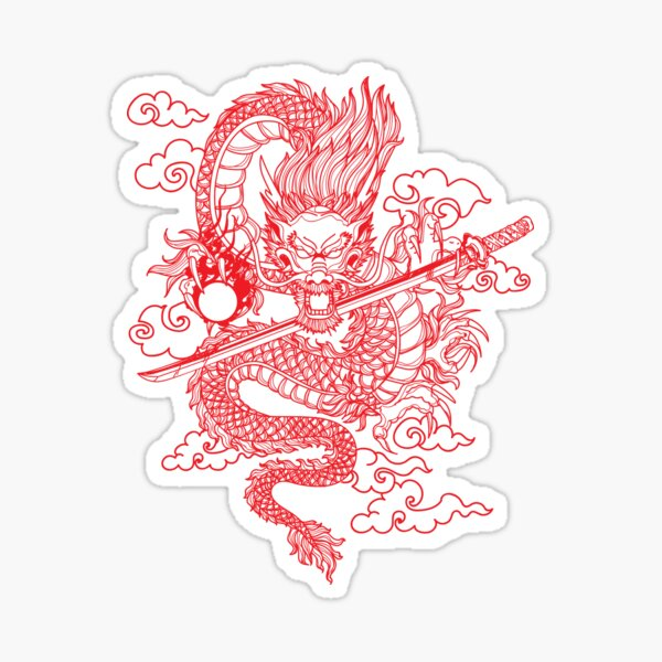 Red Chinese Dragon with Black Background Sticker