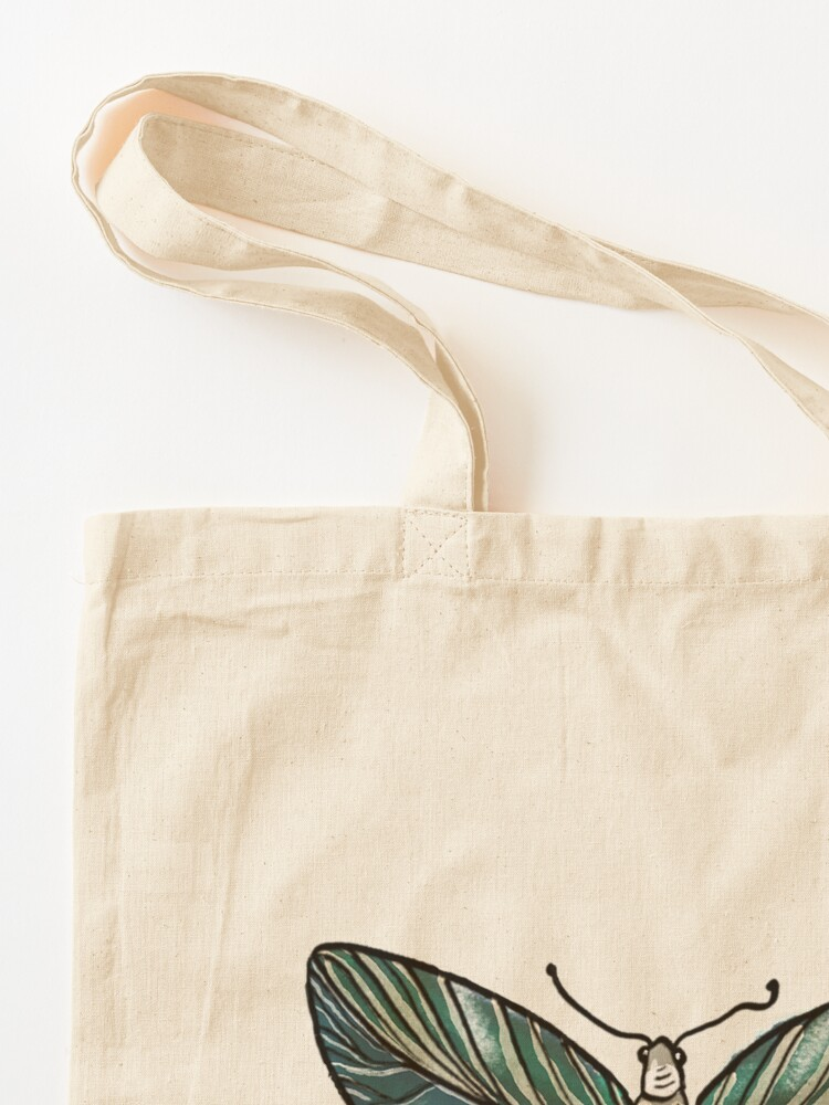 Alternate view of Leaf Magic Butterfly in my Garden_watercolor painted Tote Bag