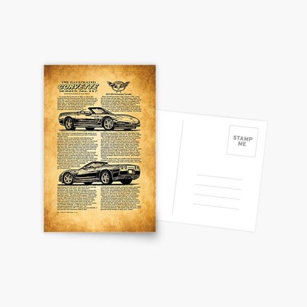 2003 Corvette Art, 50th Anniversary Art, C5 Chevrolet Corvette, Car Guy Art, Man Cave Car Art Postcard