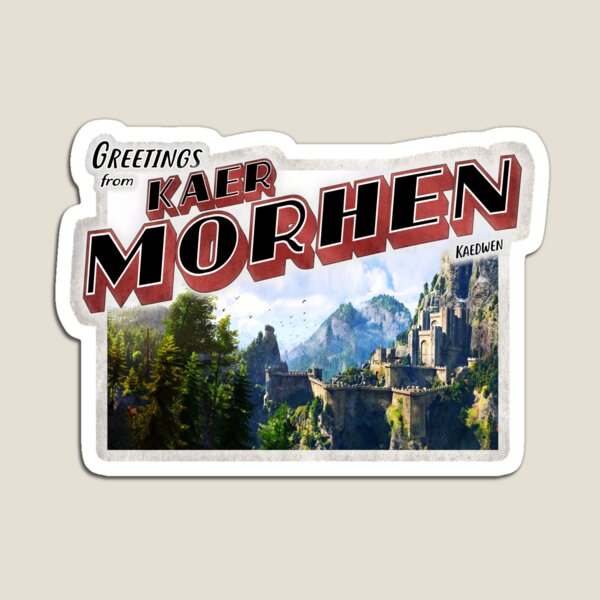 The Witcher Inspired 'Greetings from Kaer Morhen' Vintage / Retro Postcard Weathered Design Magnet