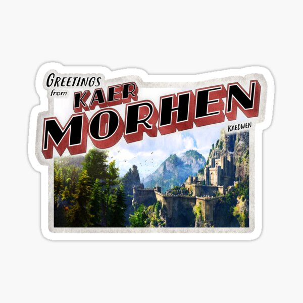 """Der Hexer inspirierte """"Grüße von Kaer Morhen"""" Vintage / Retro Postkarte verwittertes Design Sticker"""