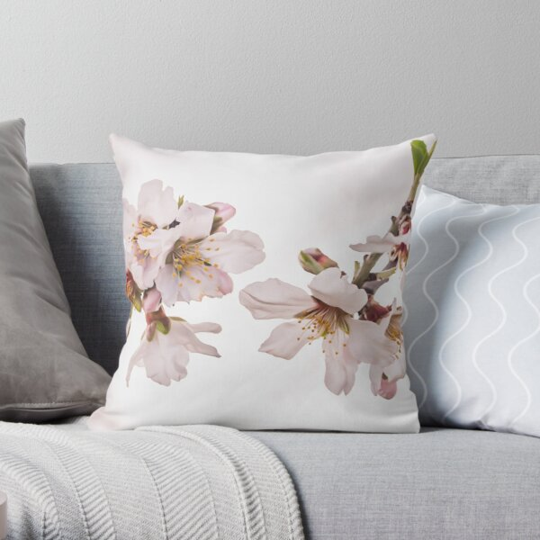 Almond Tree in Blossom - Close Up to Flowers Throw Pillow