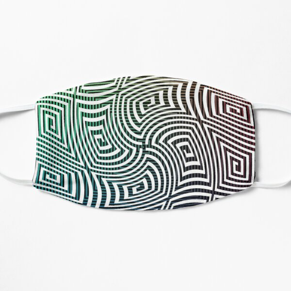 Optical illusion, spirally twisted quadrangular spirals on a quadrangular spiral background. Flat Mask