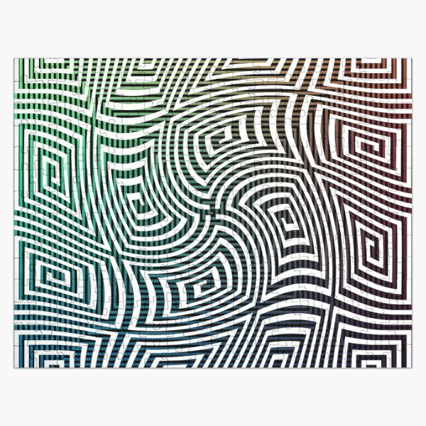 Optical illusion, spirally twisted quadrangular spirals on a quadrangular spiral background. Jigsaw Puzzle