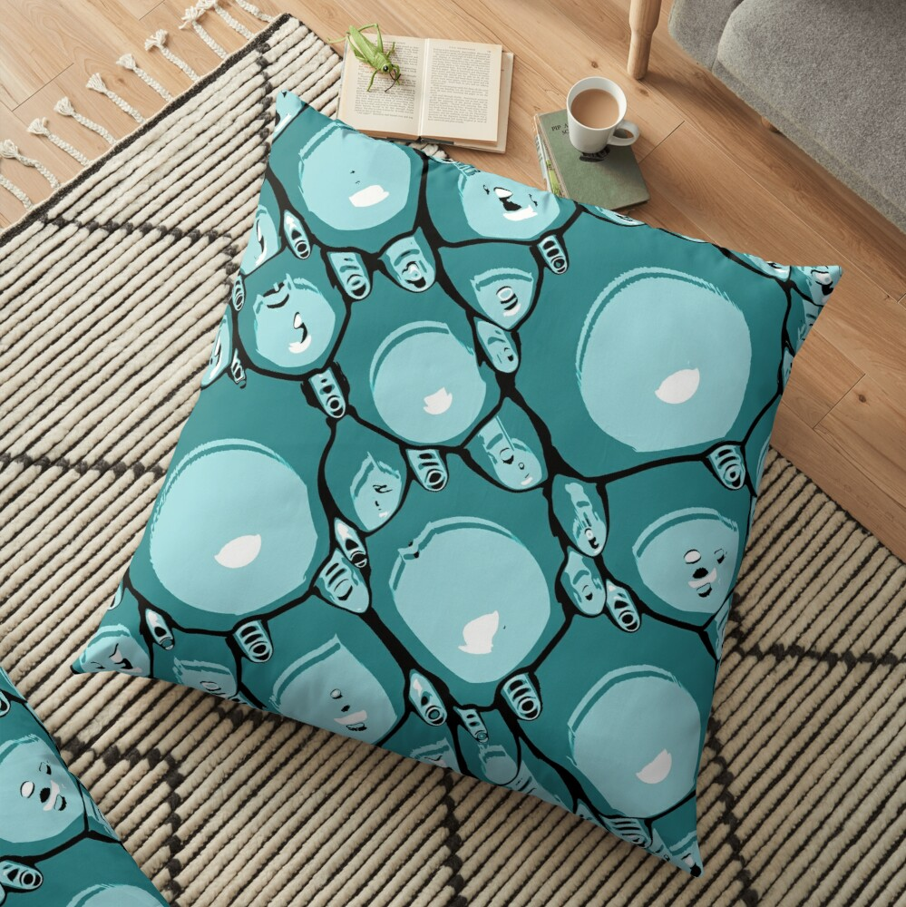 Abstract Turquoise Pattern  Floor Pillow