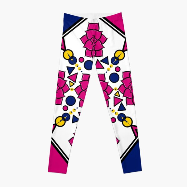 Abstract Geometric Floral Design Leggings