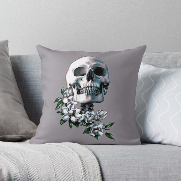 Skull & Magnolia Flowers Throw Pillow