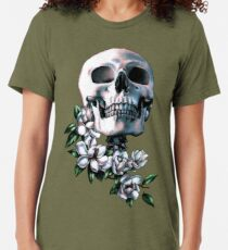 Skull & Magnolia Flowers Tri-blend T-Shirt