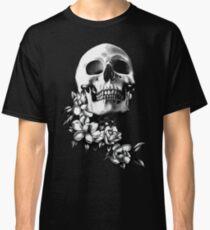 Skull & Magnolia Flowers B&W Classic T-Shirt