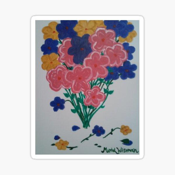 Bouquet Flowers Pink Blue Gold on White Sticker