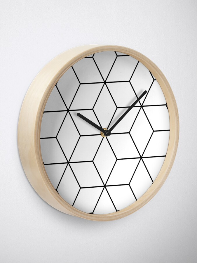 Alternate view of Geometric Cubes Black & White Clock