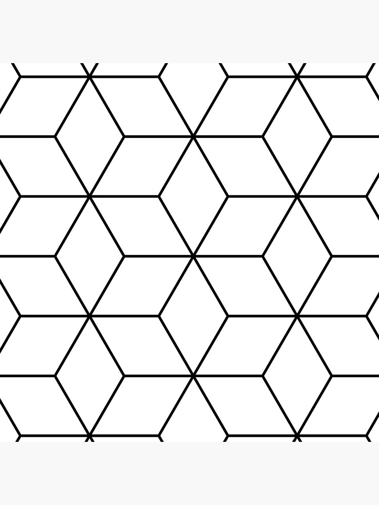 Geometric Cubes Black & White by QuirkyClock
