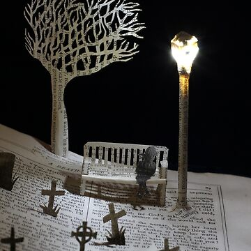 Paper craft lonely Churchyard book sculpture by daysfall