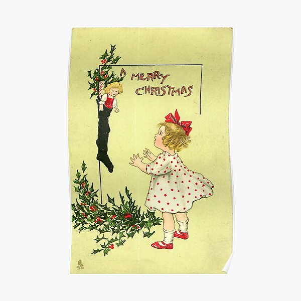 "Vintage ""A Merry Christmas"" Postcard Poster"