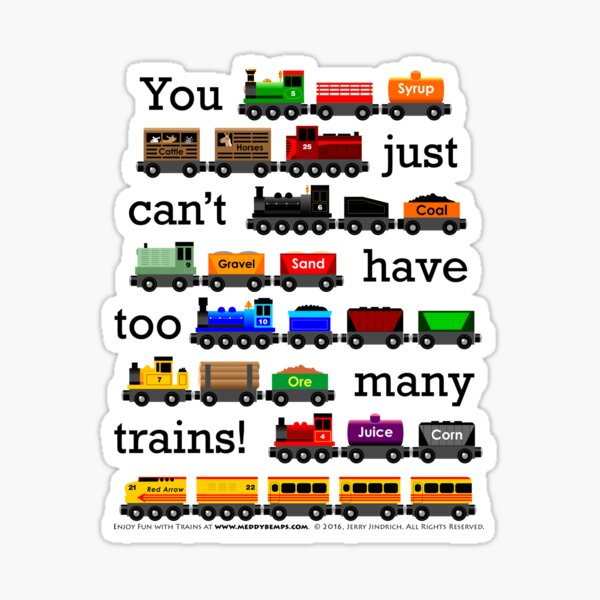 Too Many Trains - Black Lettering Sticker
