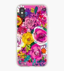 Les Fleurs Painting Print in Hot Pink iPhone Case