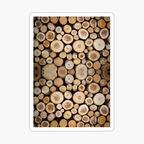 Magnificent Pile of Wood Logs Sticker