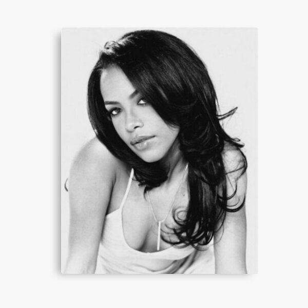 Aaliyah Black and White Canvas Print