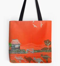 Kangaroo country - Collage of old Australian outback scene Tote Bag