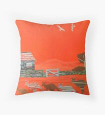Kangaroo country - Collage of old Australian outback scene Throw Pillow