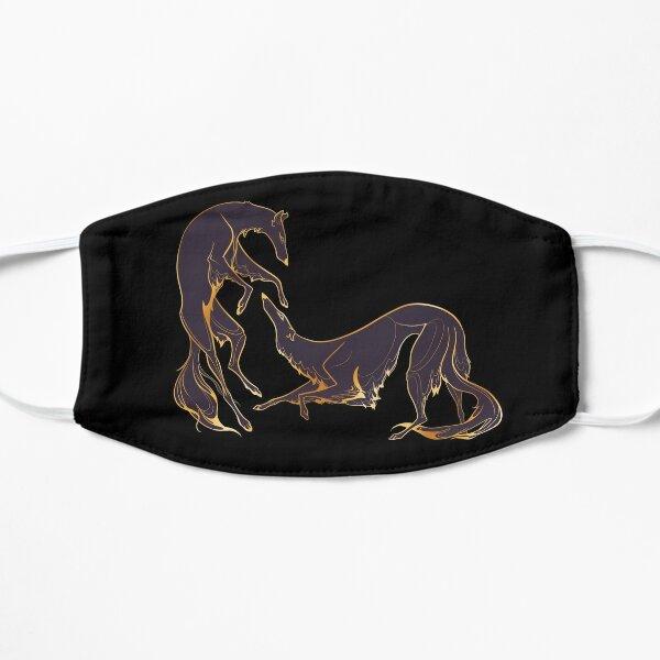 Dancing gold and purple borzoi  Flat Mask