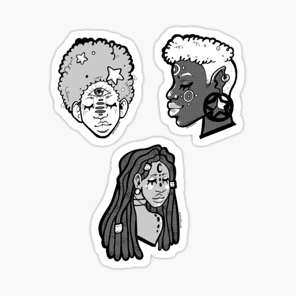 Black and white Witch Stickers Sticker