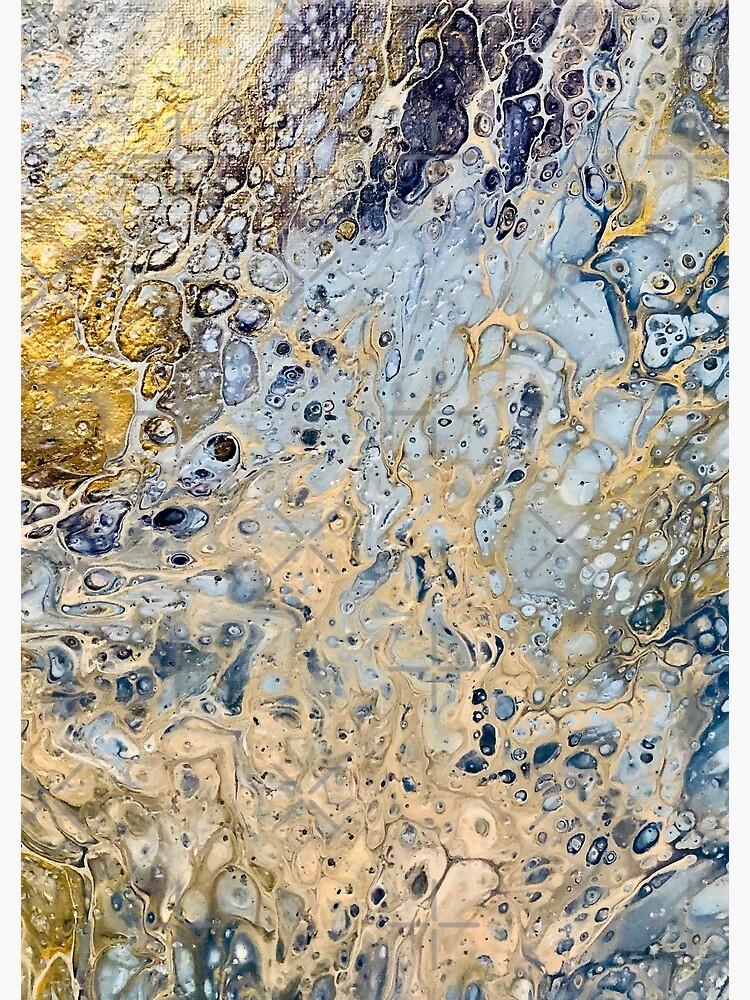 Golden Blue Paint Pour by OriginallyWild