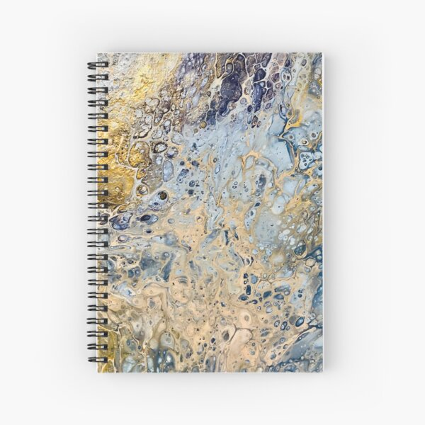 Golden Blue Paint Pour Spiral Notebook
