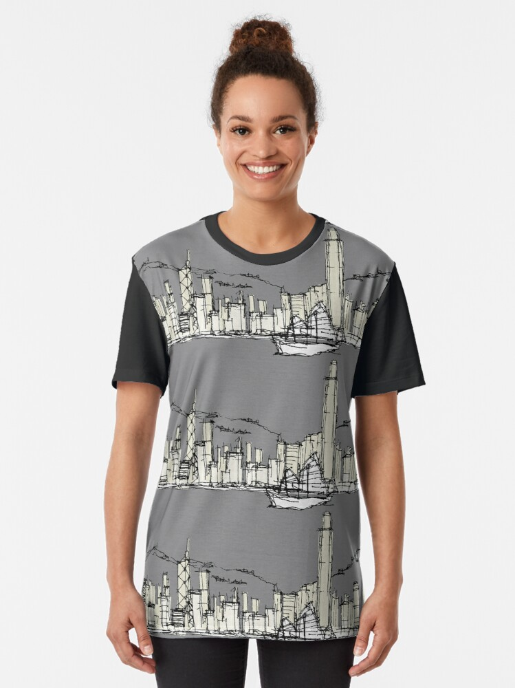 Alternate view of Hongkong Silhouette Graphic T-Shirt