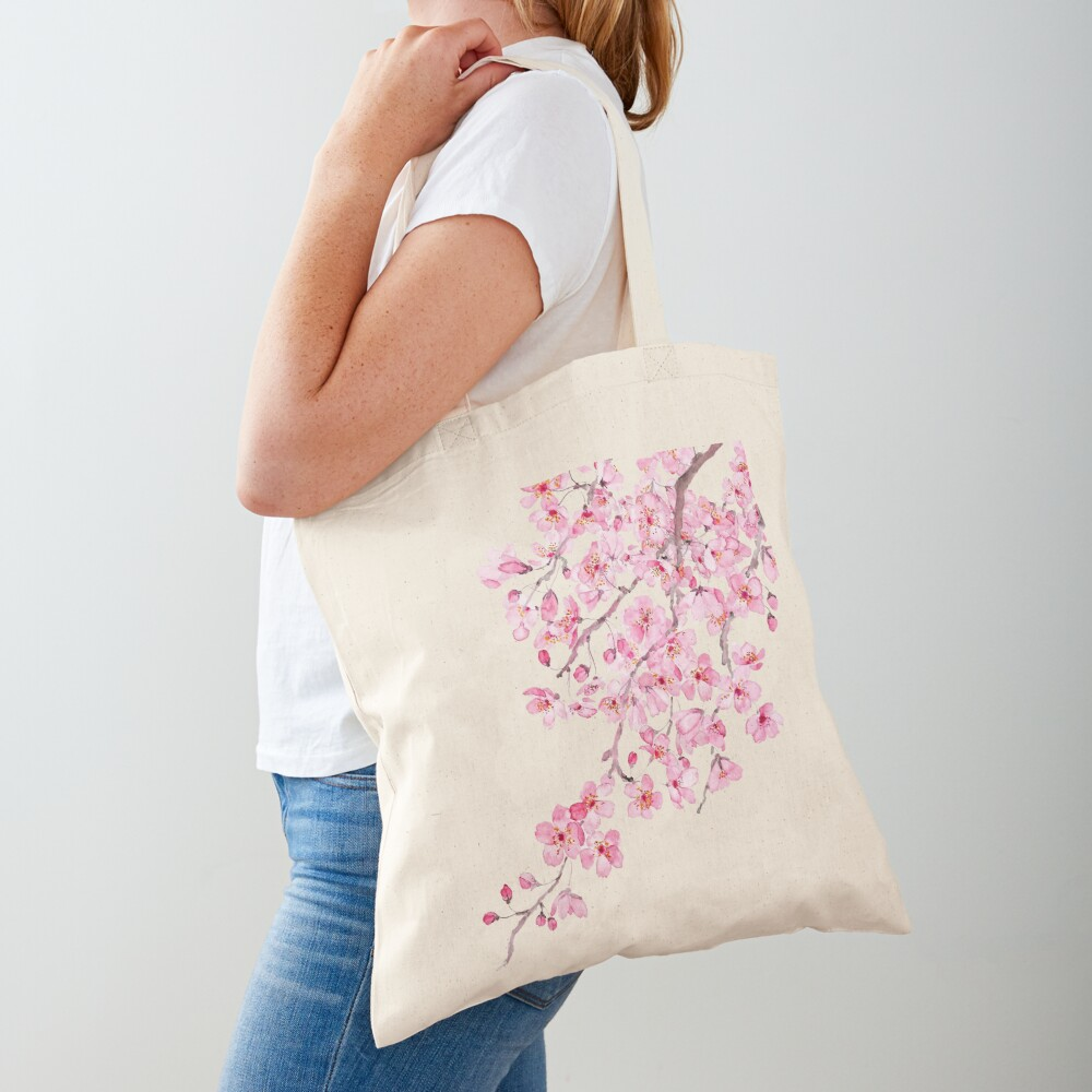 pink cherry blossom watercolor 2020 Tote Bag